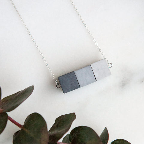 Concrete Necklace Tri-Color Cubes