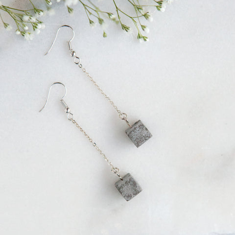 Concrete Square Earrings Silver
