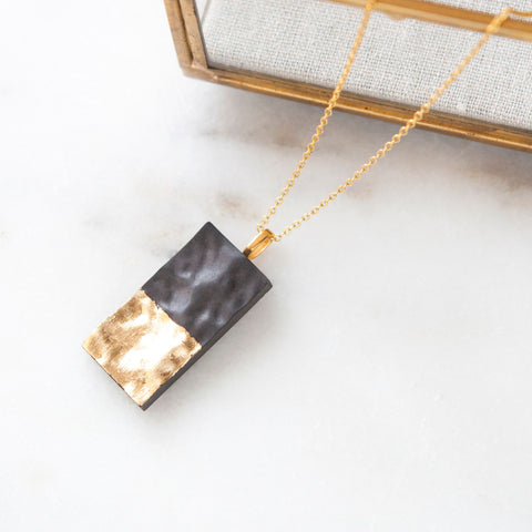 Concrete Textured Rectangle Necklace (Dark)