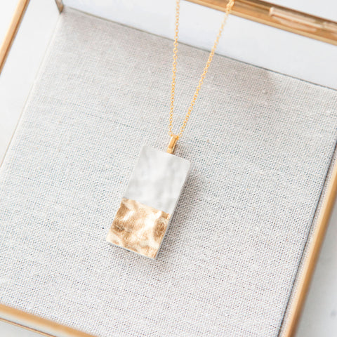 Concrete Textured Rectangle Necklace (Light)