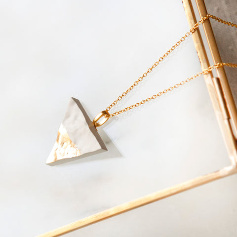 Concrete Textured Triangle Necklace (Light)