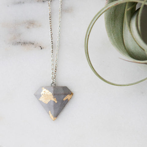 Concrete Necklace Gold Leaf Diamond Hanover Designs