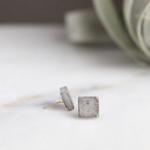 Concrete Earrings Square Stud Hanover Designs