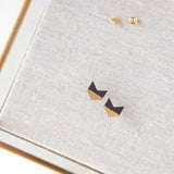 Concrete Gold Leaf Chevron Earrings (Dark)