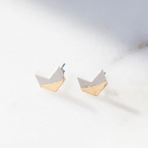 Concrete Gold Leaf Chevron Earrings (Light)