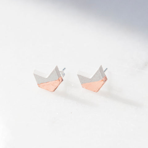 Concrete Rose Gold Chevron Earrings (Light)
