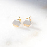 Concrete Gold Leaf Hexagon Earrings (Light)
