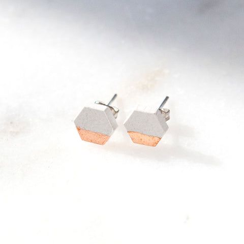 Concrete Rose Gold Hexagon Earrings (Light)