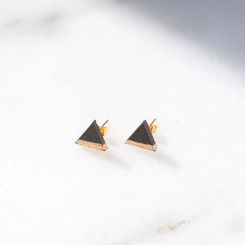 Concrete Gold Leaf Triangle Earrings (Dark)