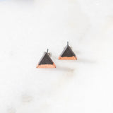 Concrete Rose Gold Triangle Earrings (Dark)