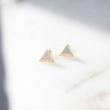 Concrete Gold Leaf Triangle Earrings (Light)