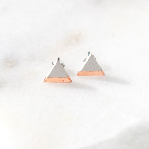 Concrete Rose Gold Triangle Earrings (Light)