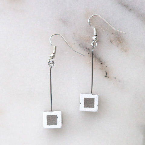 Concrete Earrings Square Hanover Designs