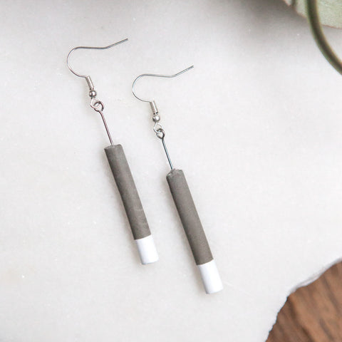 Concrete Earrings White Cylinder Hanover Designs