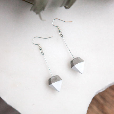Concrete Earrings White Diamond Hanover Designs