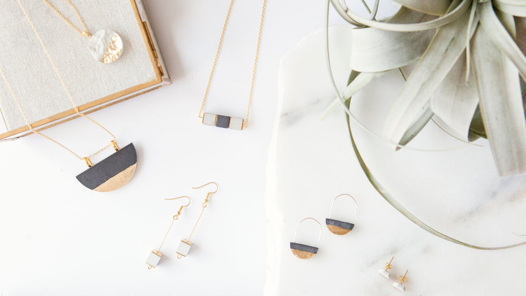 Hanover Designs Concrete Druzy Necklaces