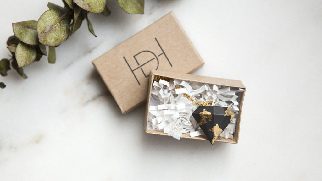 Hanover Designs Concrete Necklace and packaging