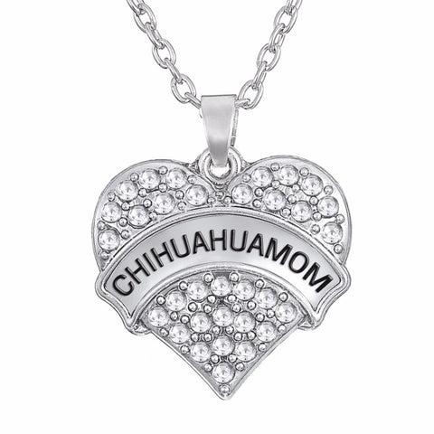 FREE Chihuahua Mom Rhinestone & Heart Pendant Necklace