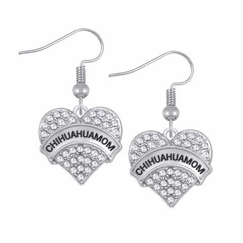 Chihuahua MOM Rhinestone & Heart Pendant Earrings
