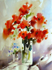 Watercolor Red Flowers in Vase - Live-Stream