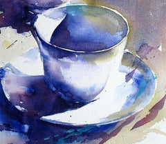 Watercolor Blue Teacup - Live-Stream