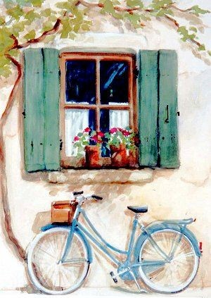 Watercolor Bicycle Scene -  Live-Stream