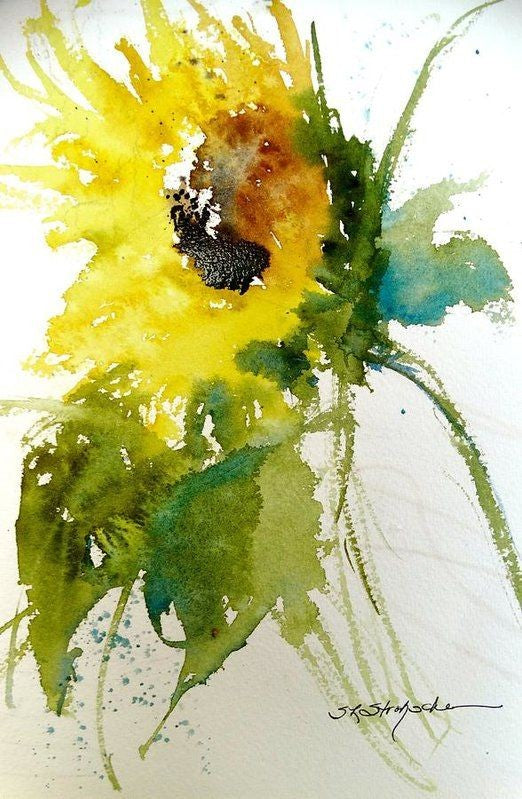 Watercolor Sunflower - Live-Stream