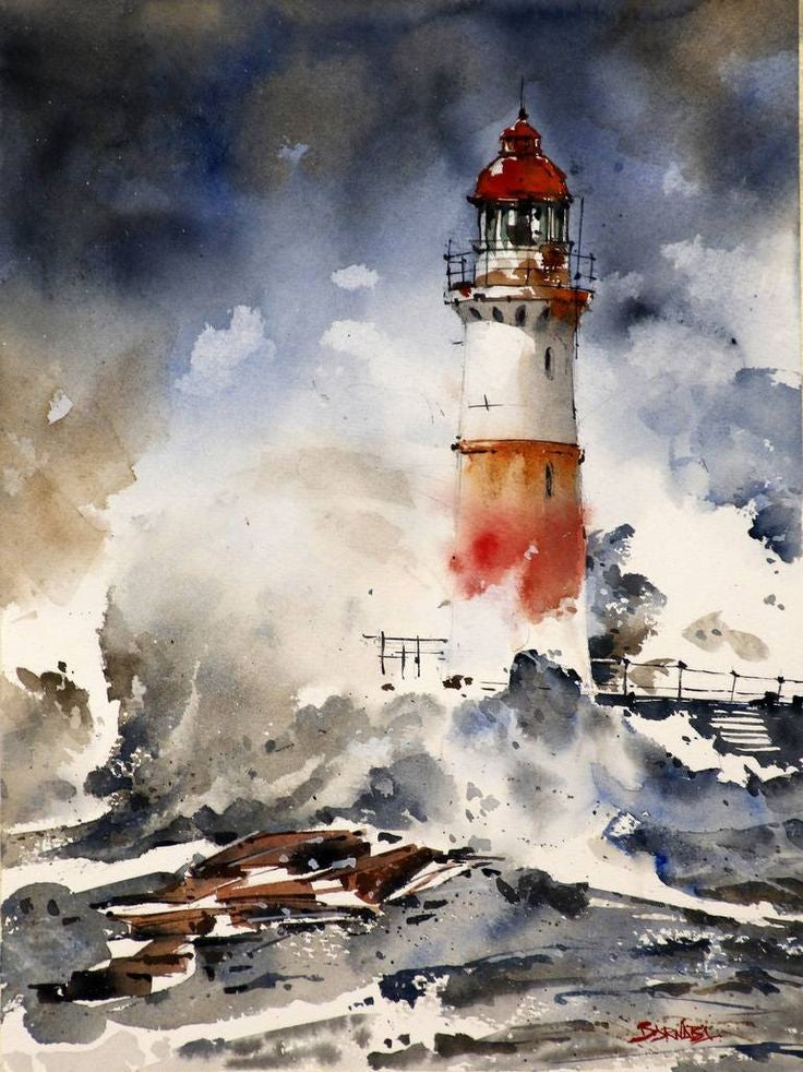 Watercolor Lighthouse Pt. 2 - Live-Stream