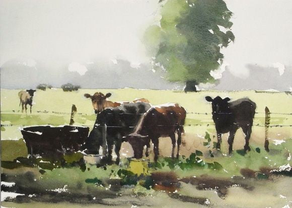 Watercolor Pasture of Cows #1 - Live-Stream