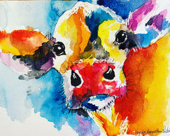 Youth Watercolor Cow 8/31 PM