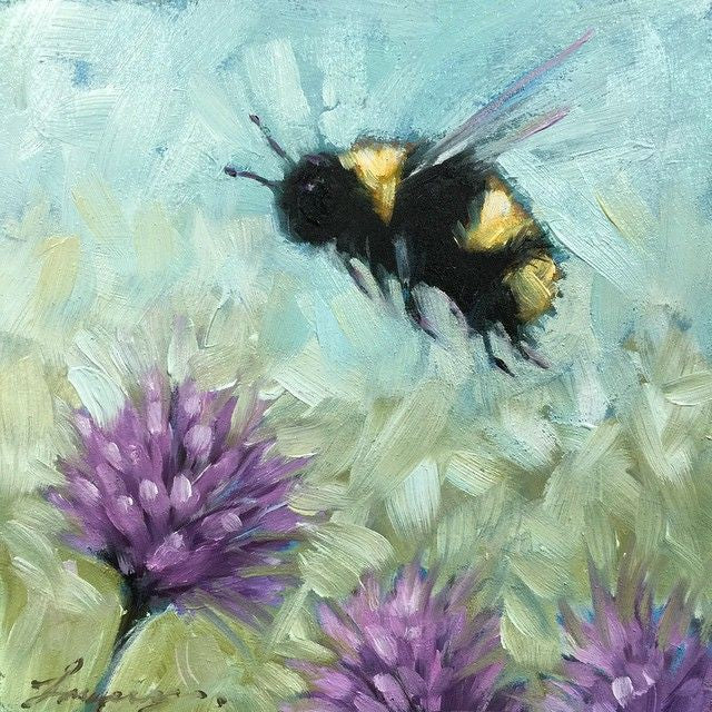 Bee with Purple Flowers