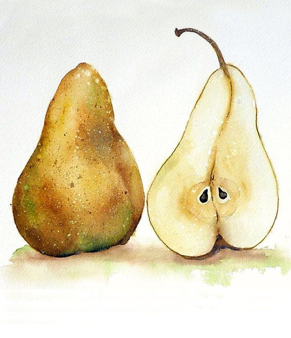 Watercolor Pair of Pears  - Live-Stream