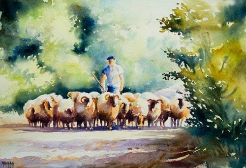 Intermediate Watercolor Sheep Herder Pt. 2