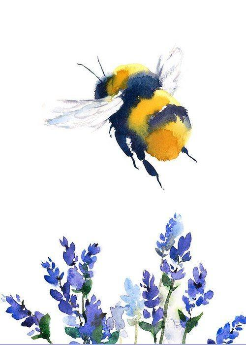 Zoom Watercolor Bee in Lavender