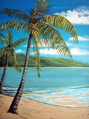 Acrylic Palm Tree/Beach Scene - Live-Stream