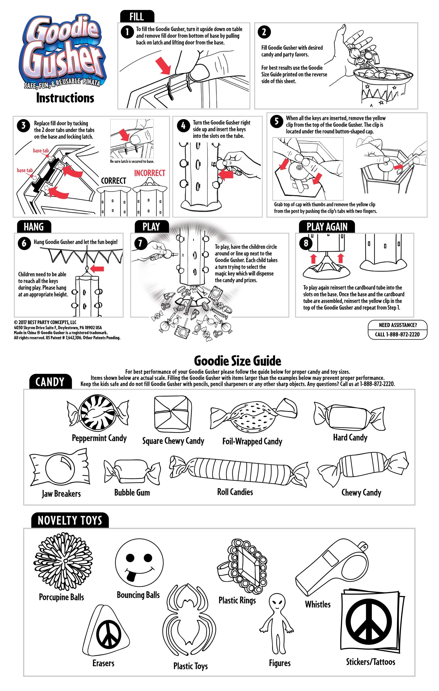 Goodie Gusher Instruction Sheet