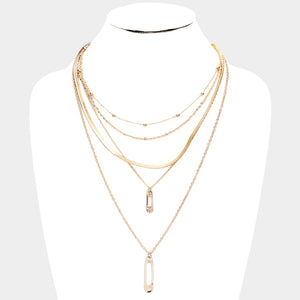 Safety Pin Layer Necklace