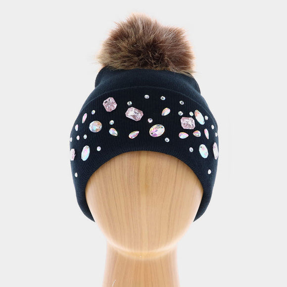 Double Layer Crystal Studded Beanie