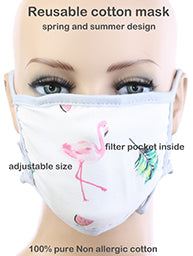 Cotton Flamingo Luau Fabric Mask with Filter Pocket - TeaseL.A.
