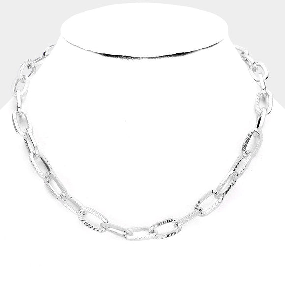 Stripe Textured Silver Link Necklace - TeaseL.A.