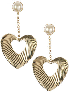 Metal Heart Drop Earings - TeaseL.A.