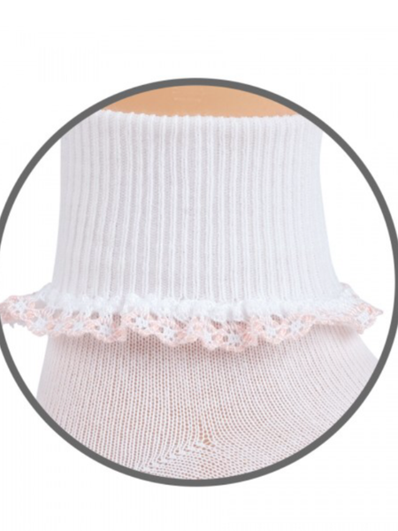 Jefferies Dainty White / Pink Lace Socks