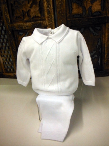 Willbeth Boys 2pc White Knit Outfit