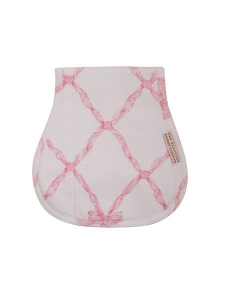 The Beaufort Bonnet Company Burp Cloth in Pink Belle Meade Bow