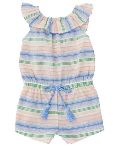 Mudpie Romper -  Striped Linen