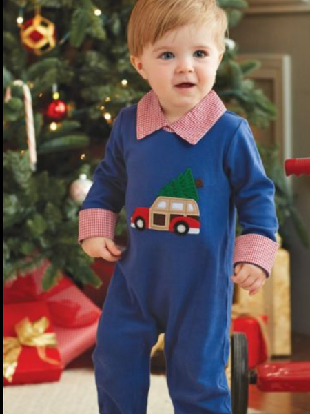 Mudpie Romper- One Piece Holiday Car