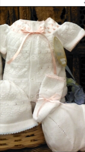 Will'beth 4 pc White and Pink Knit Bring Me Home Outfit