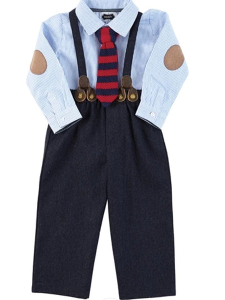 Mudpie Boys Suspender Pants Set