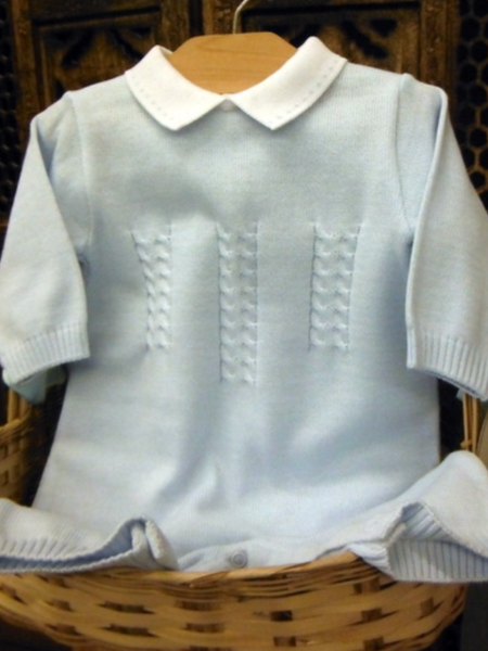 Will'beth Blue Knit Boys Romper