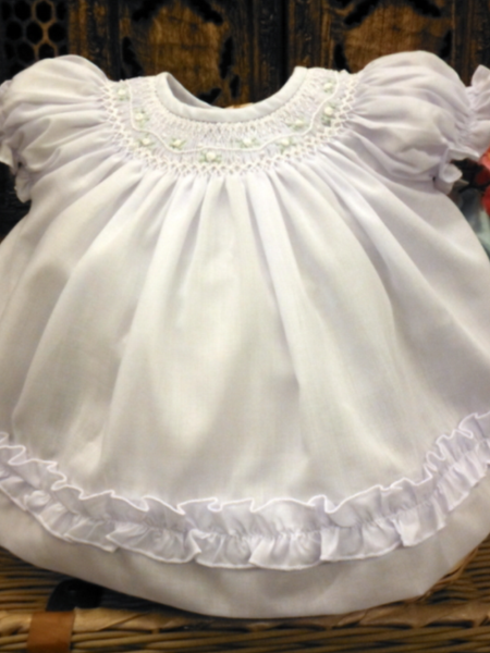 Will'beth White Smocked Bishop Dress